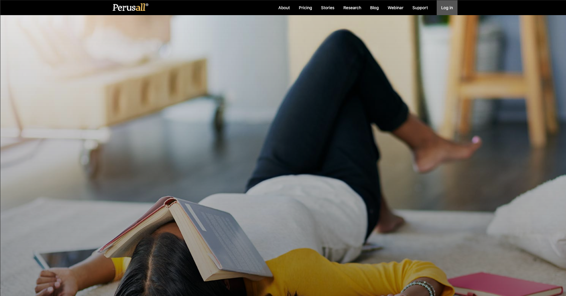 Splash screen on the Perusall homepage