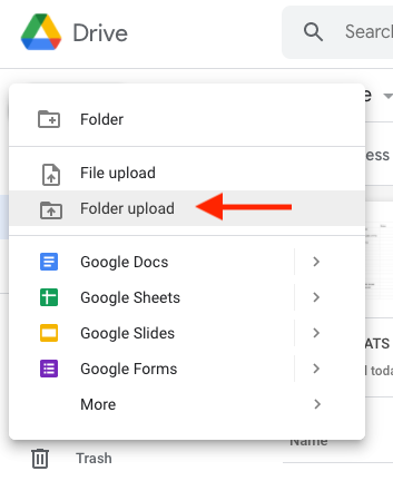 Arrow pointing to the Folder upload option in Google Drive